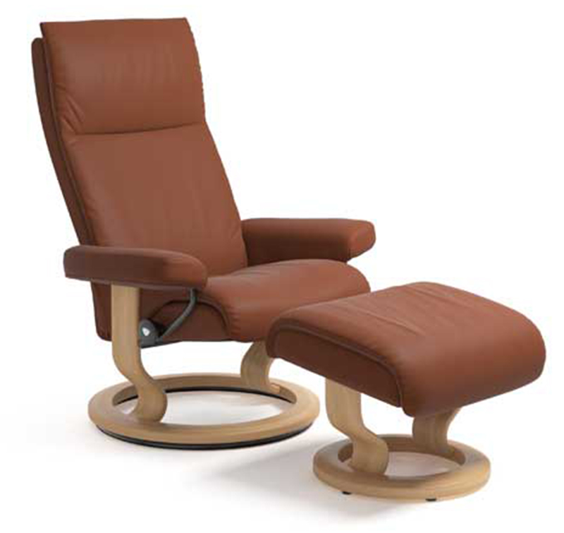 Stressless Aura Classic Paloma Copper Leather Recliner Chair and Ottoman by Ekornes