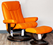 Stressless Bliss Clementine Leather Recliner Chair and Ottoman