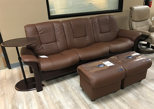 Stressless Buckingham Low Back Sofa in Paloma Chocolate Leather
