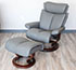 Stressless Medium Magic Paloma Metal Grey Leather Recliner Chair and Ottoman
