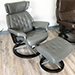 Stressless Skyline Signature Recliner and Ottoman in Paloma Metal Grey Leather