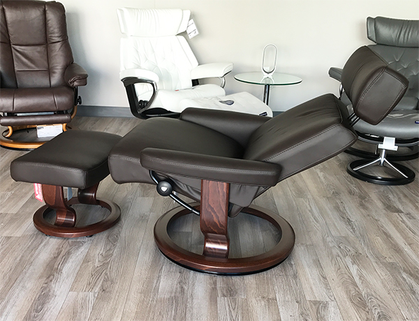 Stressless Taurus Mocca Leather Recliner Chair and Ottoman