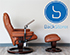 Stressless Kensington Large Mayfair Royalin TigerEye Leather Recliner Chair and Ottoman