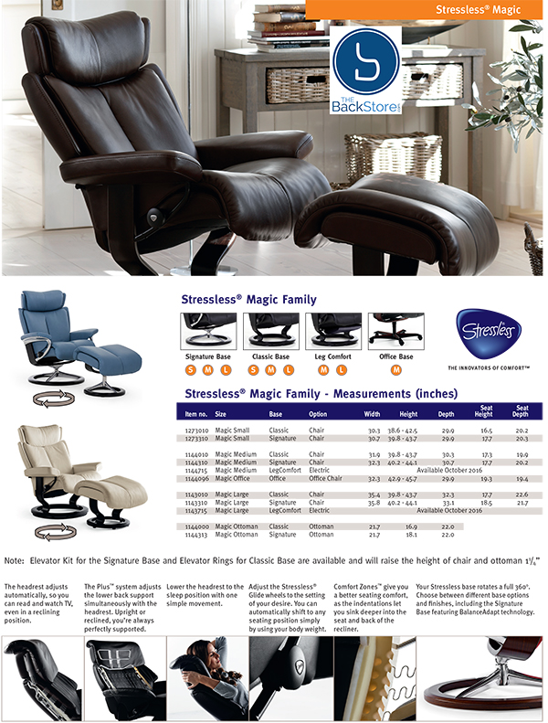 Stressless Magic Family Recliner Chair and Ottoman