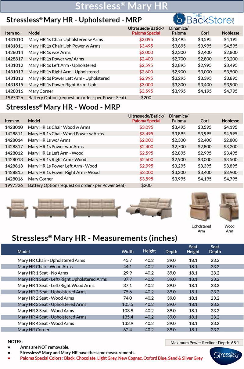 Stressless Mary Sofa Loveseat Chair Sectional Dimensions