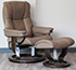 Stressless Mayfair Recliner Chair and Ottoman in Paloma Funghi Leather