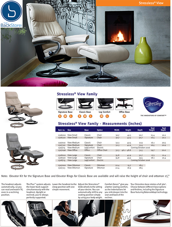 Stressless View Signature Base Recliner Chair and Ottoman