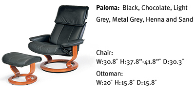 Stressless Admiral Classic Medium Base Paloma Black Leather Recliner Chair and Ottoman by Ekornes
