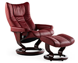 Stressless Wing Classic Base Recliner Chair and Ottoman