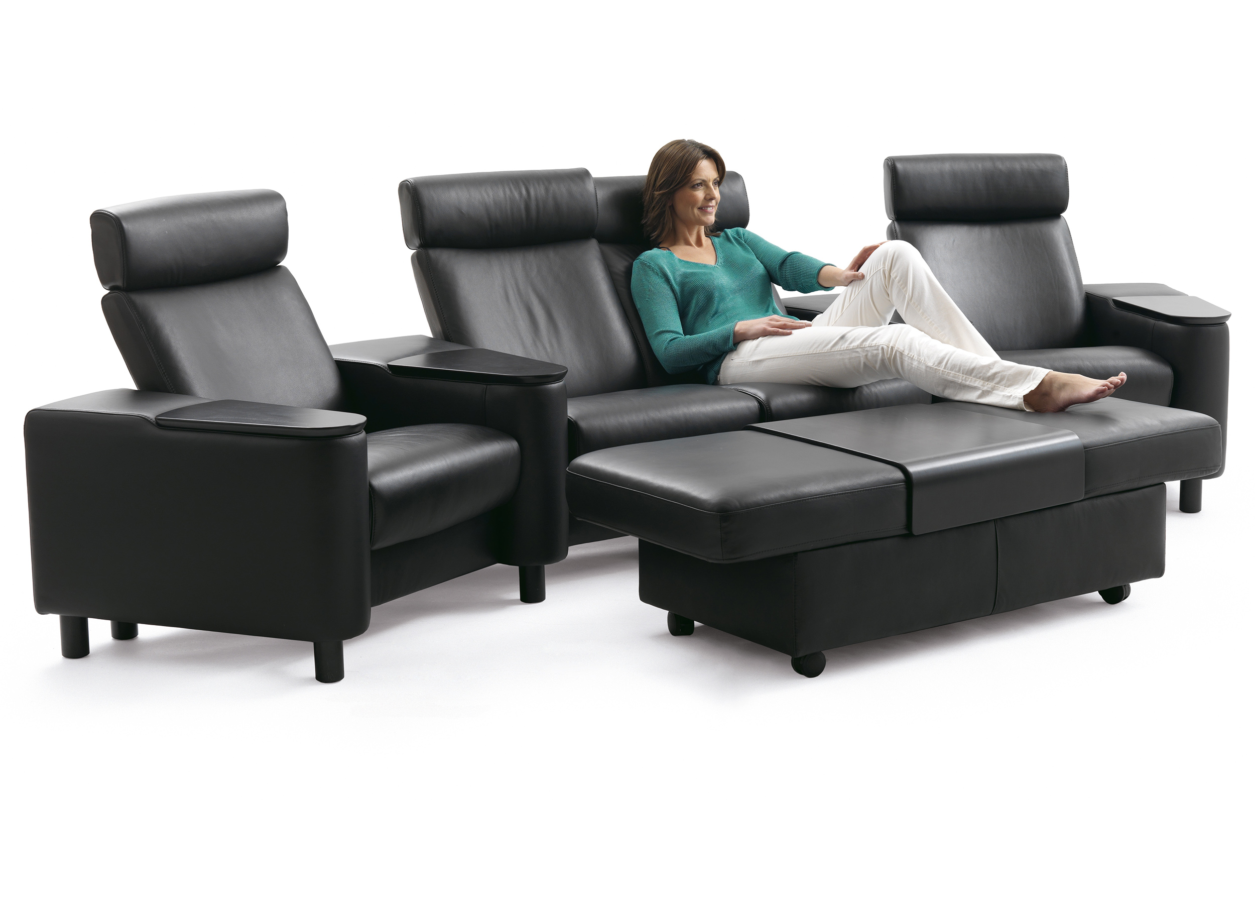 Stressless Space Home Theater Sofa Sectional in Paloma Black Leather ...