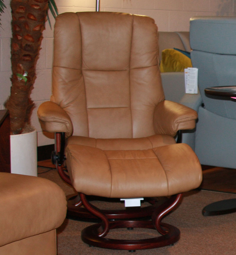 Stressless Paloma Taupe Leather Color Recliner Chair and Ottoman from Ekornes