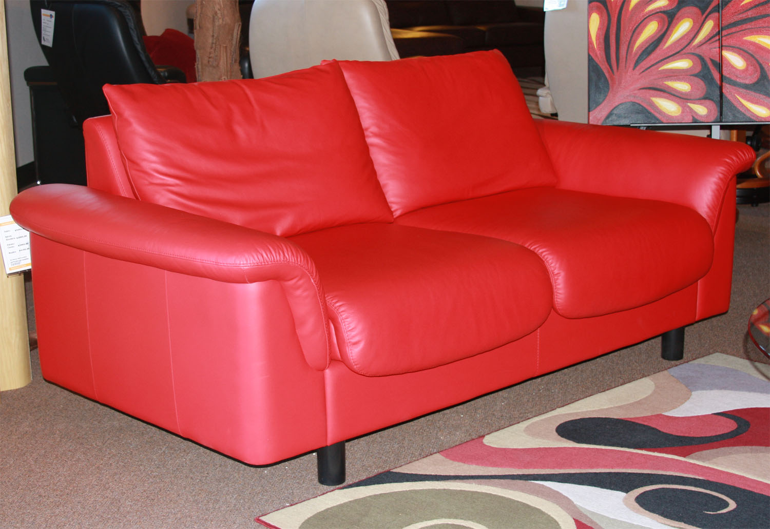 Stressless Paloma Chilli Red Leather Color Sofa from Ekornes