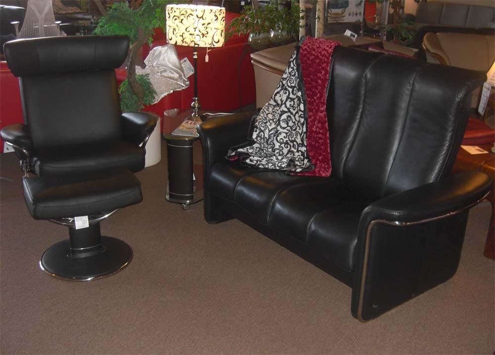 Leather Ottoman Black