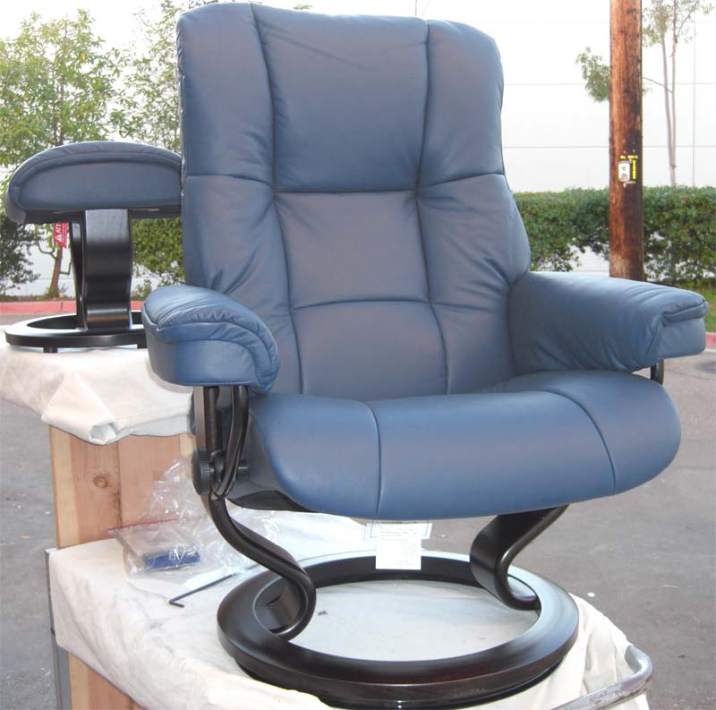 Stressless Paloma Oxford Blue Leather Color Recliner Chair and Ottoman from Ekornes