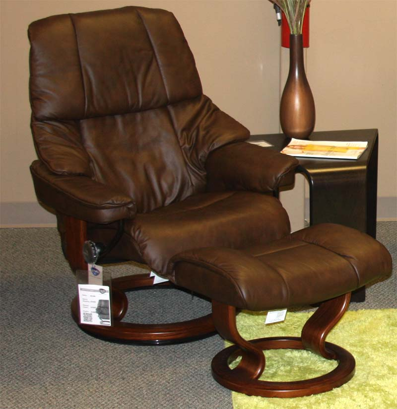 Stressless Reno Paloma Chocolate Leather Recliner Chair and Ottoman - Walnut Wood