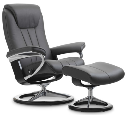 Stressless Bliss Signature Base Recliner Chair and Ottoman