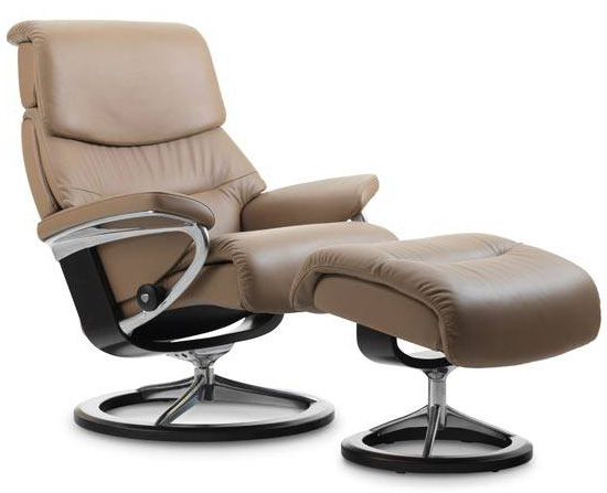 Stressless Capri Signature Base Recliner Chair and Ottoman