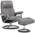 Stressless Crown Signature Base Recliner Chair and Ottoman by Ekornes