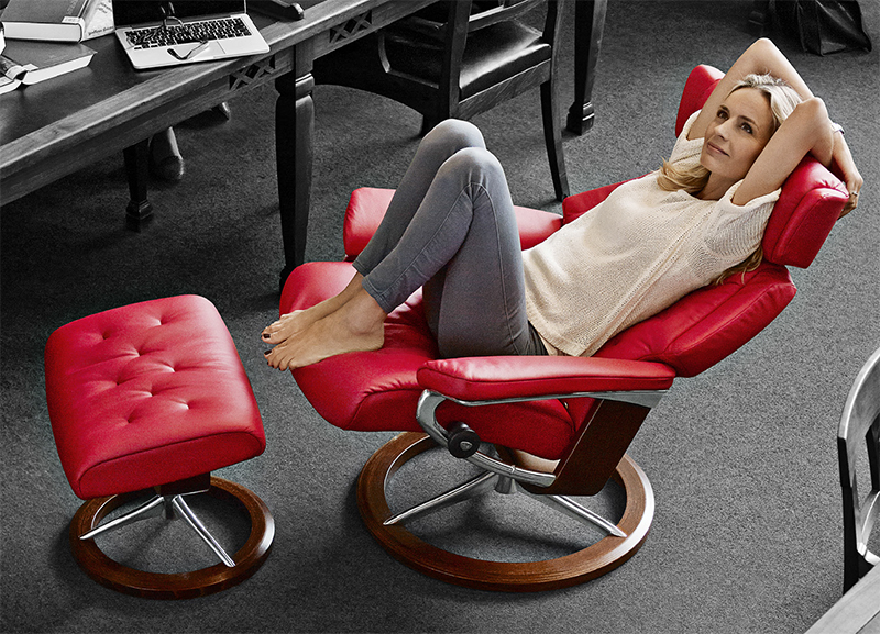 Paloma Tomato Red Stressless Leather Recliner and Ottoman by Ekornes