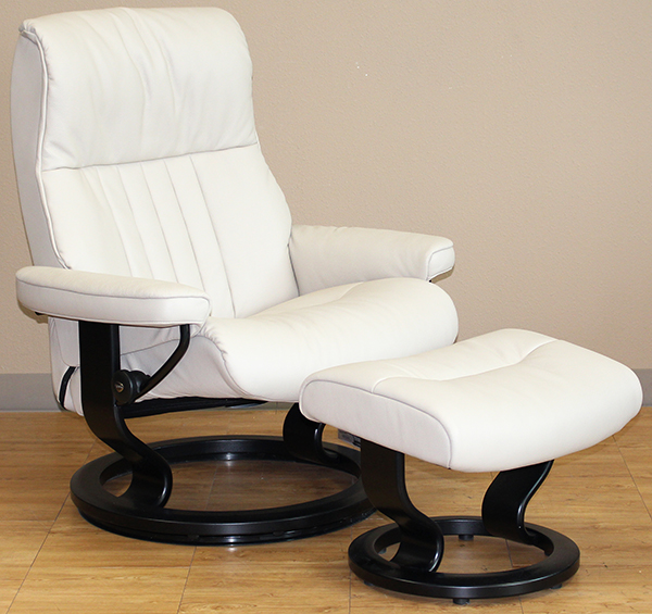 Stressless Crown Recliner Chair - Cori Vanilla White Leather