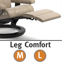 Stressless Wing Leg Comfort Power Extending Footrest with Classic Wood Base