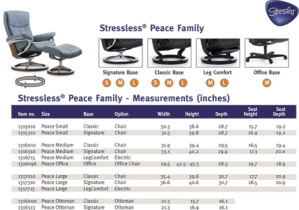 Stressless Peace Recliner Chair and Ottoman Size Dimensions