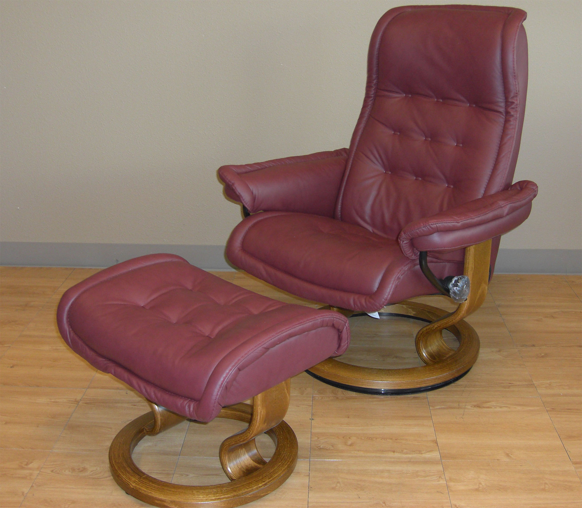 Stressless Paloma New Winered Leather Color Recliner Chair and Ottoman from Ekornes