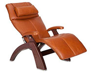Cognac Premium Leather with Chestnut Wood Base Series 2 Classic Human Touch PC-420 PC-600 PC-610 Perfect Chair Recliner by Human Touch