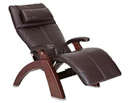 Espresso Premium Leather with Chestnut Wood Base Series 2 Classic Perfect Chair Recliner by Human Touch