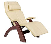 Ivory Leather with Chestnut Wood Base Series 2 Classic Perfect Chair Recliner by Human Touch