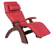 Red Leather with Chestnut Wood Base Series 2 Classic Perfect Chair Recliner by Human Touch