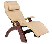 Sand Leather with Chestnut Wood Base Series 2 Classic Perfect Chair Recliner by Human Touch