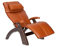 Cognac Premium Leather with Dark Walnut Wood Base Series 2 Classic Perfect Chair Recliner by Human Touch