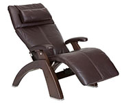 Espresso Premium Leather with Dark Walnut Wood Base Series 2 Classic Perfect Chair Recliner by Human Touch