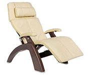 Ivory Leather with Dark Walnut Wood Base Series 2 Classic Perfect Chair Recliner by Human Touch