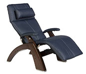 Navy Blue Leather with Dark Walnut Wood Base Series 2 Classic Perfect Chair Recliner by Human Touch