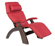 Red Leather with Dark Walnut Wood Base Series 2 Classic Human Touch PC-420 PC-600 PC-610 Perfect Chair Recliner by Human Touch