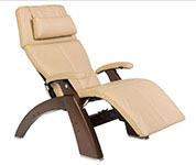 Sand Leather with Dark Walnut Wood Base Series 2 Classic Perfect Chair Recliner by Human Touch