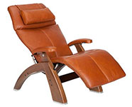 Cognac Premium Leather with Walnut Wood Base Series 2 Classic Perfect Chair Recliner by Human Touch