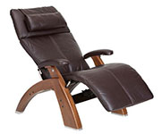 Espresso Premium Leather with Walnut Wood Base Series 2 Classic Perfect Chair Recliner by Human Touch