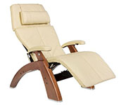 Ivory Leather with Walnut Wood Base Series 2 Classic Perfect Chair Recliner by Human Touch