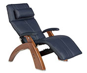 Navy Blue Leather with Walnut Wood Base Series 2 Classic Perfect Chair Recliner by Human Touch