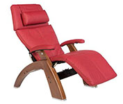 Red Leather with Walnut Wood Base Series 2 Classic Perfect Chair Recliner by Human Touch