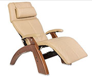 Sand Leather with Walnut Wood Base Series 2 Classic Perfect Chair Recliner by Human Touch
