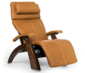 Sycamore Premium Leather with Walnut Wood Base Series 2 Classic Human Touch PC-420 PC-600 PC-610 Perfect Chair Recliner by Human Touch