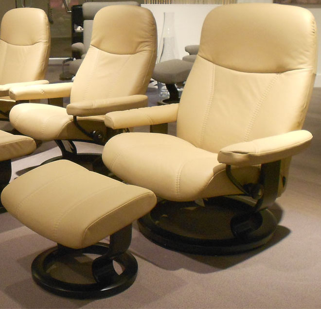 Stressless Ambassador Large Consul Batick Latte Leather Chair by Ekornes
