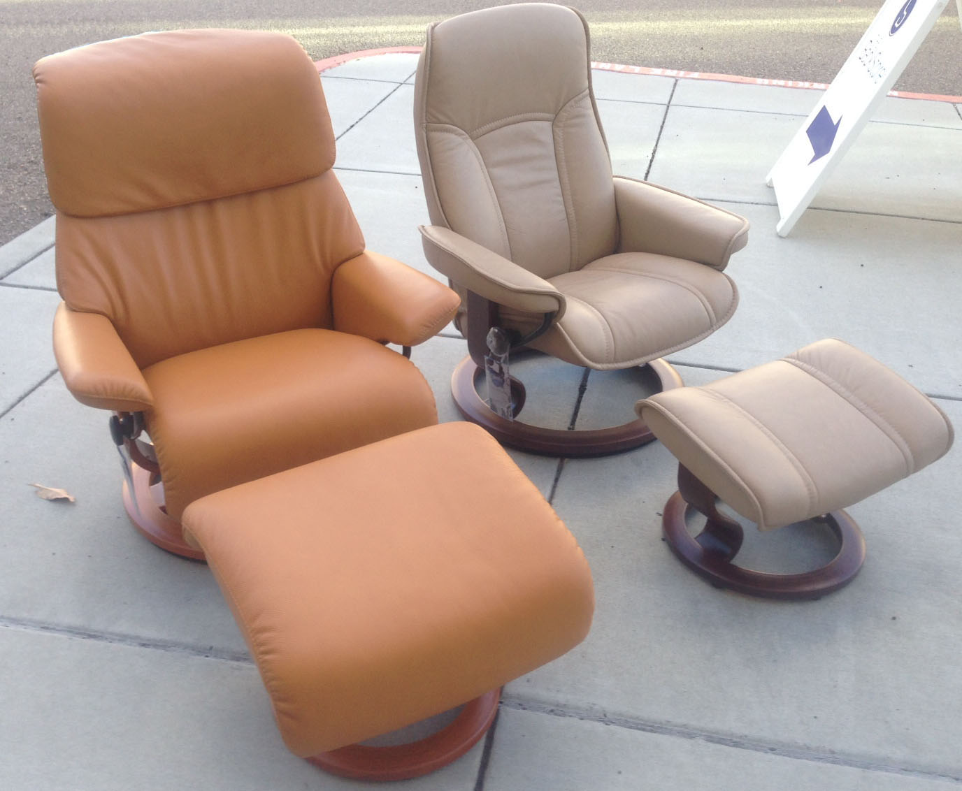 Awesome Stressless Spirit Large Dream Cori Tan Leather Recliner Chair And Ottoman By Ekornes Lamtechconsult Wood Chair Design Ideas Lamtechconsultcom