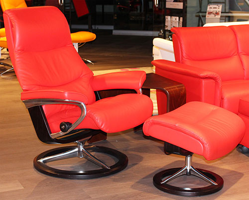 Stressless View Recliner Chair - Paloma Tomato Leather
