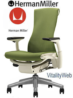 NEW Herman Miller Embody Chair White Frame Green Seat Office Chair Seating