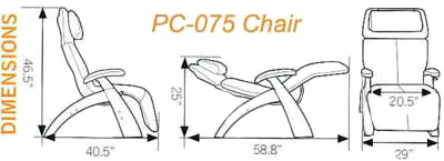 Human Touch Series 1 Classic PC-075 Silhouette Power Perfect Chair Dimensions